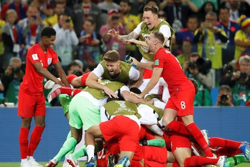 England team celebrate after winning against Colombia. (REUTERS)
