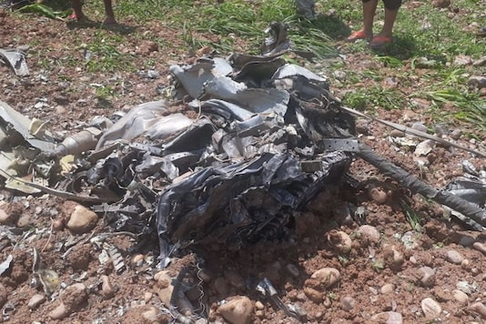 The fighter jet crashed in Mehra Palli village under the Jawali police station
