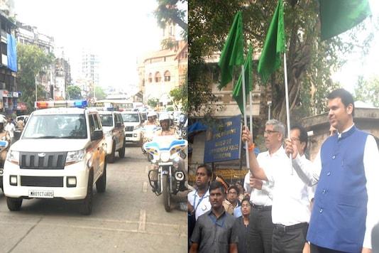 Shri Devendra Fadnavis, Hon'ble Chief Minister, Government of Maharashtra, flagged off 50 Mahindra TUV300s from the Mumbai Police Commissioner's office at Fort, Mumbai. (Image: Mahindra)