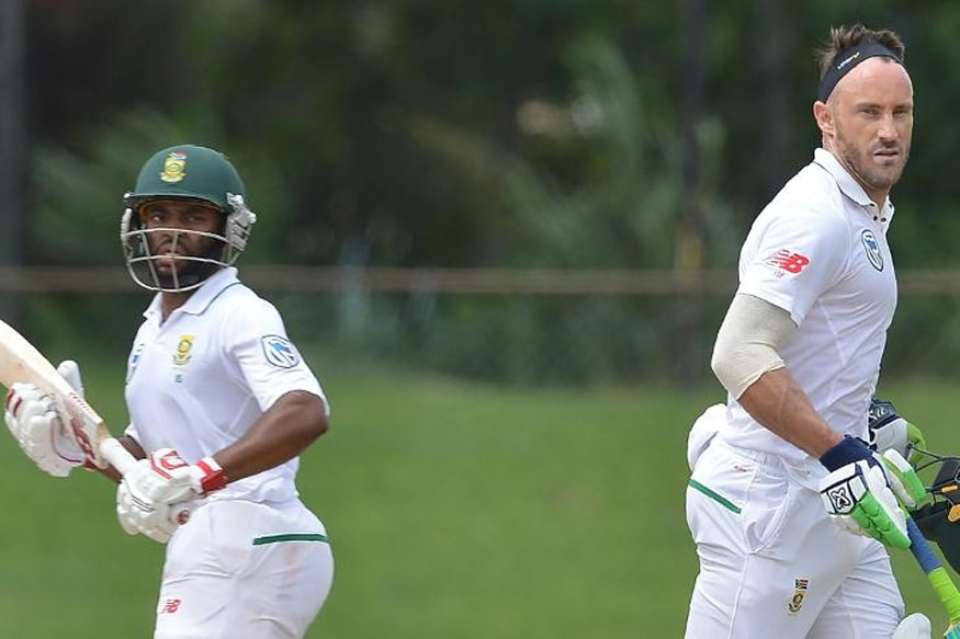 Temba Bavuma and Faf du Plessis scored half-centuries in South Africa's tour game. (ICC)