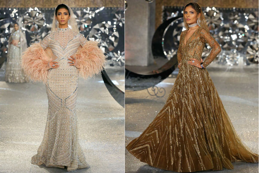 (Photo: Models present creations by designer duo Falguni and Shane Peacock at India Couture Week 2018/ W Five Communication)