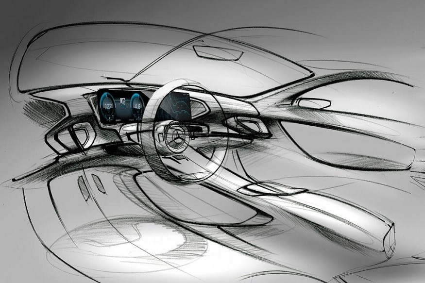 Next-generation Mercedes GLE interior teaser sketch. (Image: AFP Relaxnews)