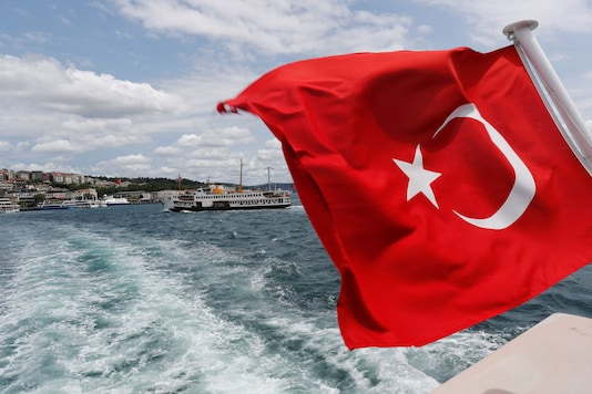 A Turkish flag is pictured on a boat in Istanbul. (REUTERS)