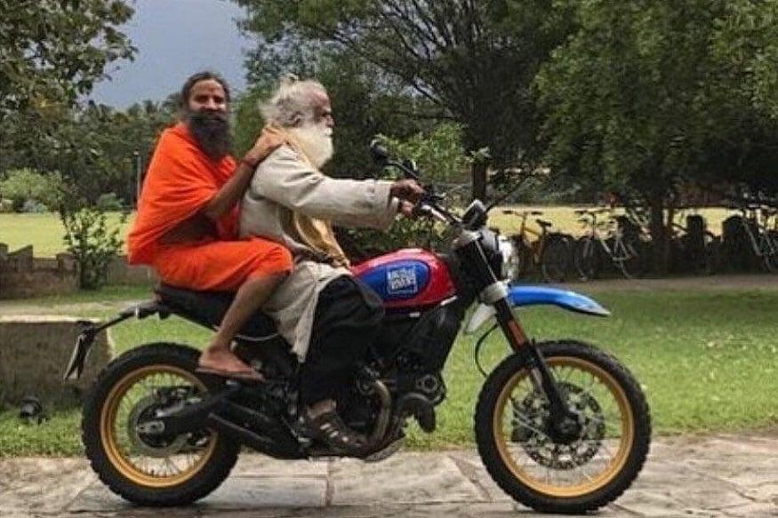 Spiritual Leader Sadhguru Takes Baba Ramdev For a Ride On a