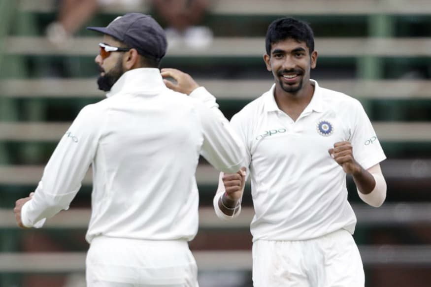 Jasprit Bumrah celebrates after taking a wicket on the fourth day of the Test. (AFP)
