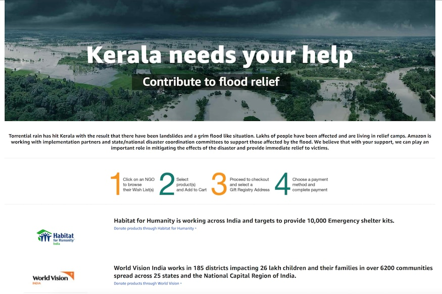 Amazon Cares: Contribute to Kerala Flood Relief website