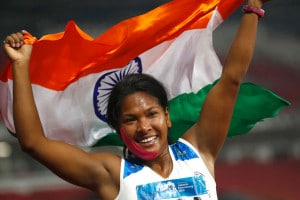 India's Swapna Barman celebrates after winning the heptathlon gold medal during the athletics competition at the 18th Asian Games in Jakarta, Indonesia. (Image: AP)