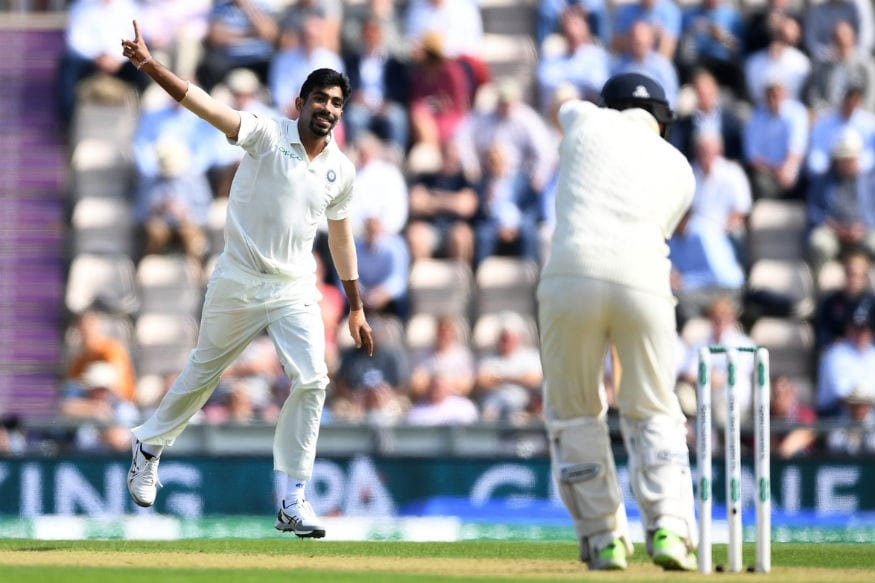 India's Jasprit Bumrah celebrates after picking a wicket. (Twitter/ ICC)