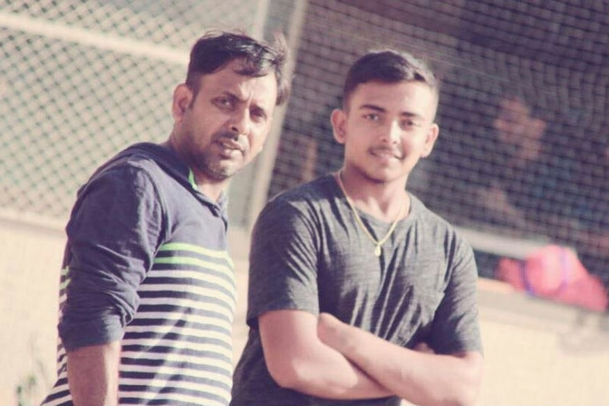 A file photo of Prithvi Shaw with father Pankaj. (Twitter/ Prithvi Shaw)