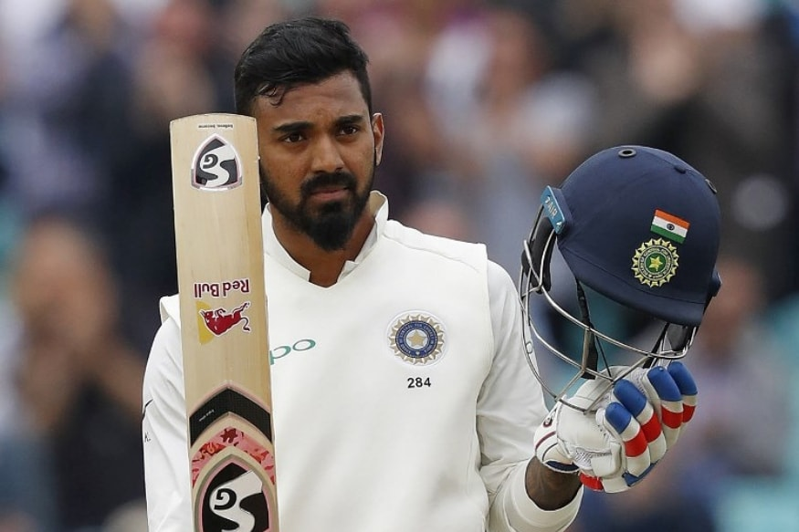 KL Rahul celebrates after completing his century. (AFP)