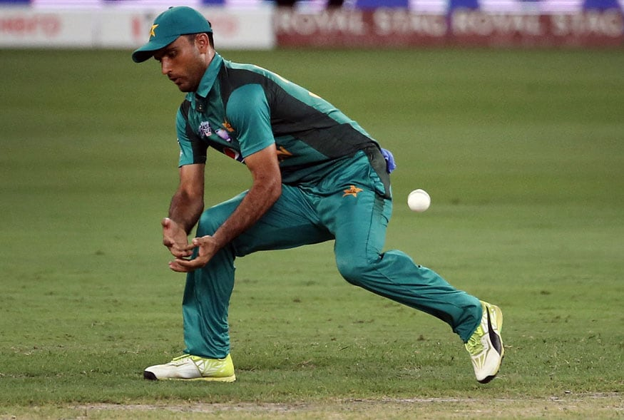 Pakistan's Fakhar Zaman drops a catch