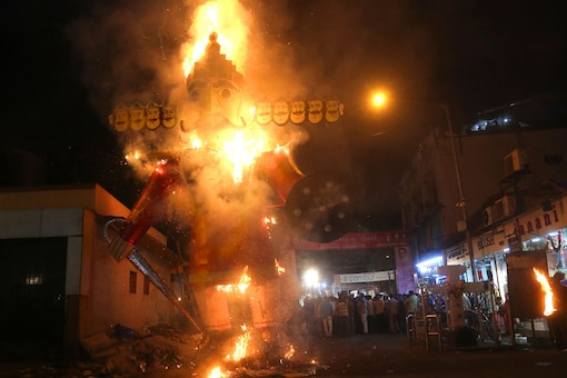 Image for representation only. People watch an effigy of Ravana burn during Dussehra festival. (Image: AP)