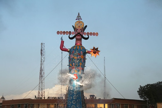 An effigy of demon king Ravana is lit to be burnt marking the end of Dussehra festival.  Image for representation. (Image: AP)