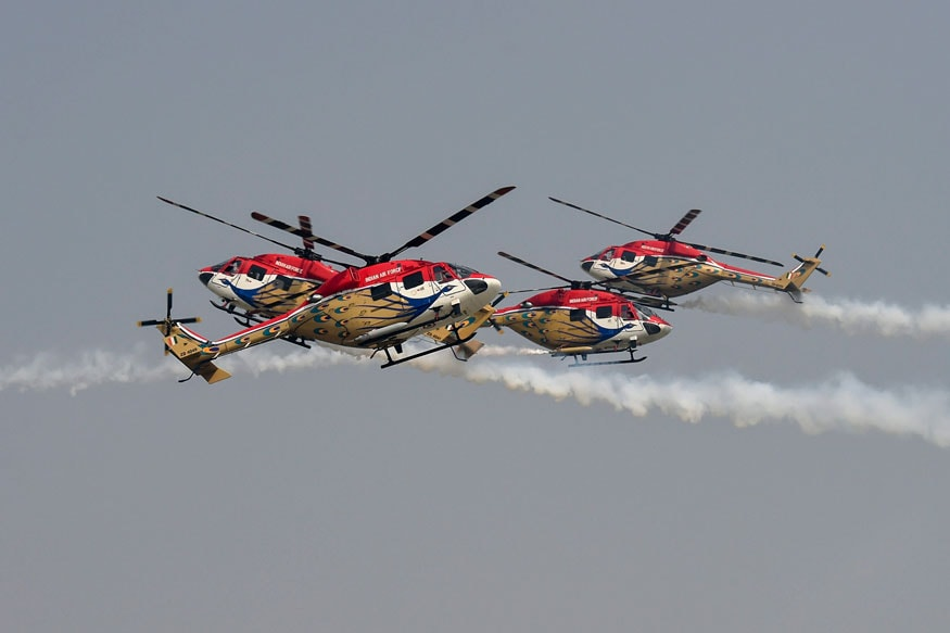 'Sarang' helicopter aerobatic team of Indian Air Force performs at the 86th Air Force Day Parade 2018, at Air Force Station, Hindon in Ghaziabad. (Image: PTI)
