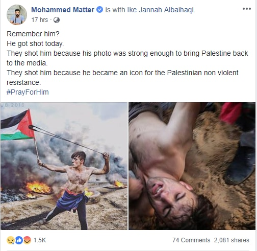 Remember Photo of Shirtless Flagbearer from Palestine? He May Have Been Shot by Israeli Forces - shirtless, remember, photo, palestine, israeli, forces, flagbearer