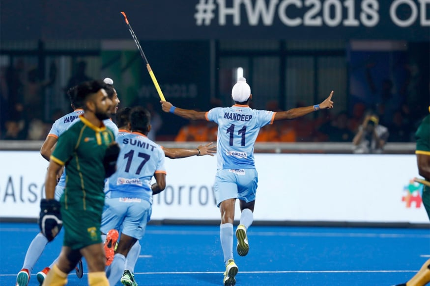 Mandeep celebrates after scoring a goal against South Africa. (Twitter/Hockey India)