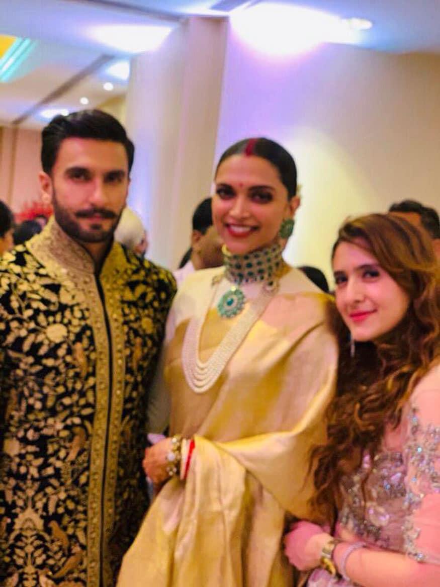 Pooja Makhija poses with Ranveer Singh and Deepika Padukone during their wedding reception in Bengaluru. (Image: Special Arrangement)