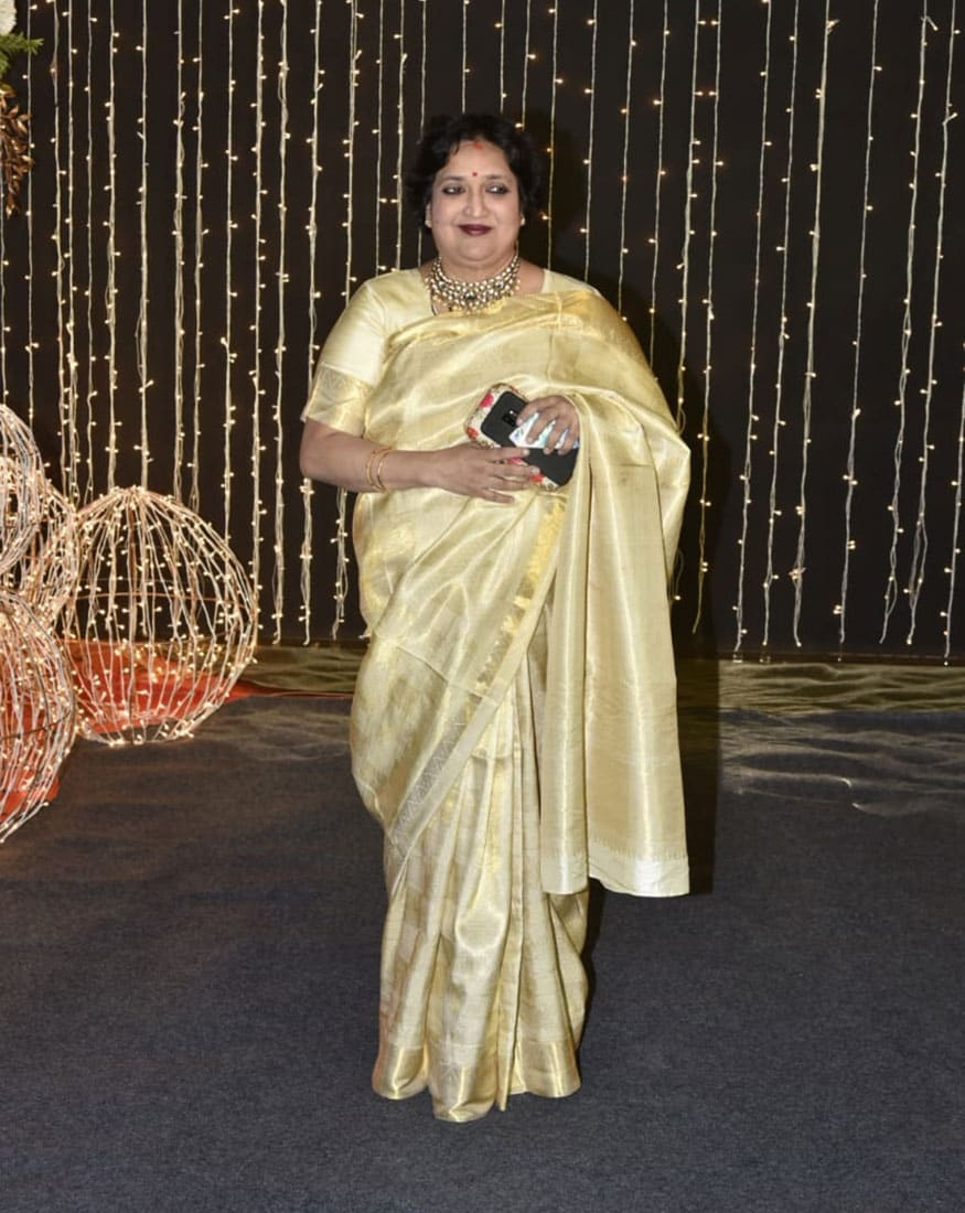 Latha Rajinikanth at Priyanka Chopra and Nick Jonas' wedding reception, held in Mumbai on December 20, 2018. (Image: Viral Bhayani)