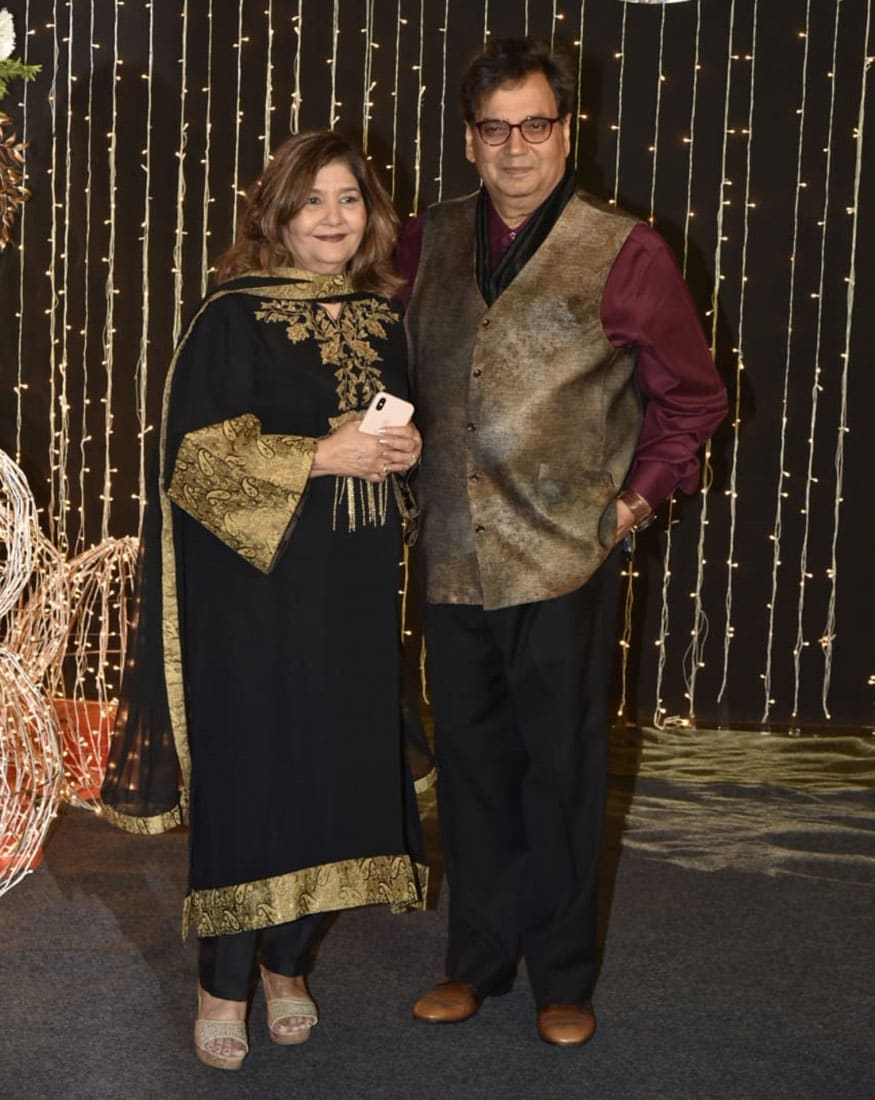 Mukta and Subhash Ghai at Priyanka Chopra and Nick Jonas' wedding reception, held in Mumbai on December 20, 2018. (Image: Viral Bhayani)