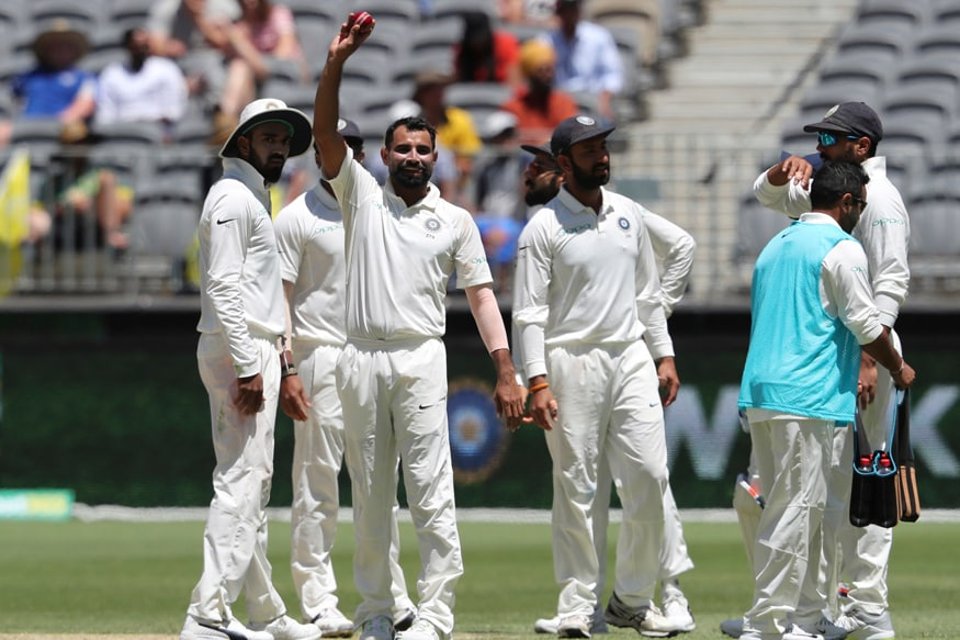 Mohammed Shami celebrates after picking five wickets. (AP Photo)