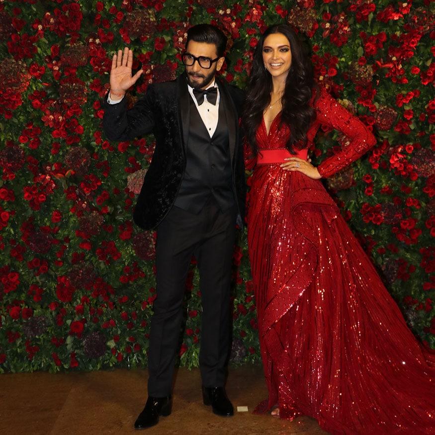 Ranveer Singh and Deepika Padukone at their wedding reception. (Image: Viral Bhayani)