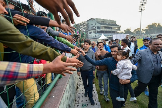 Cricketer Gautam Gambhir greets his fans on the last day of Ranji Trophy group league match between Delhi and Andhra at Feroz Shah Kotla Ground, in New Delhi on December 9, 2018. Gambhir announced retirement from all forms of cricket on Tuesday. (Image: PTI)
