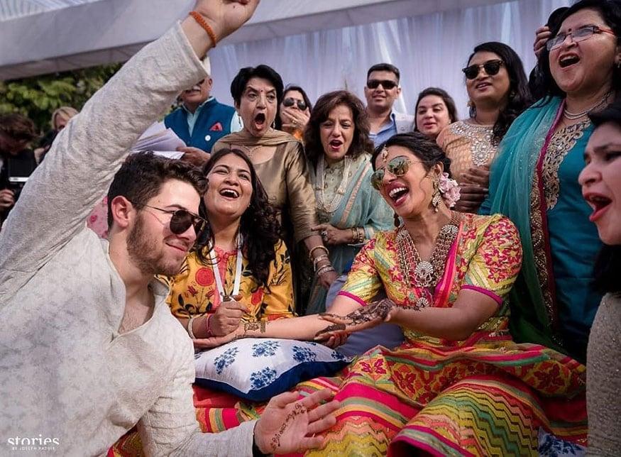 Nick Jonas and Priyanka Chopra at their mehendi ceremony. (Image: Instagram)