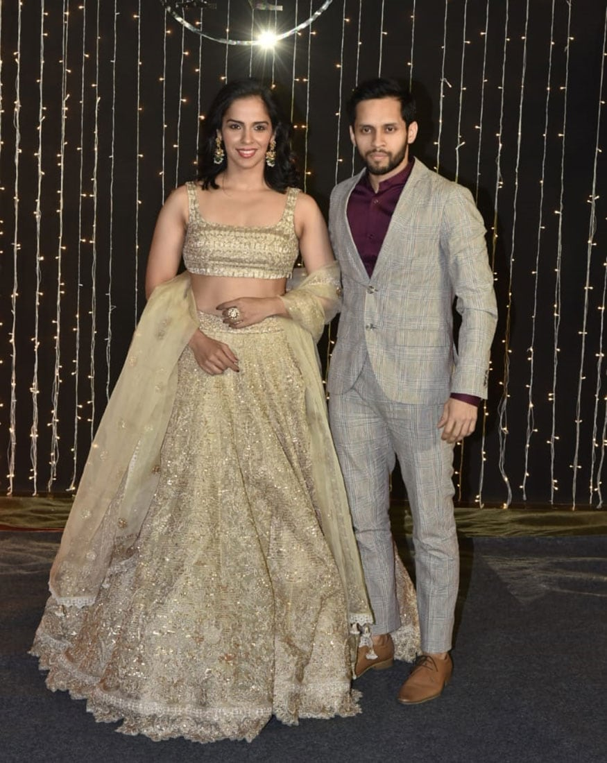 Newlywed Saina Nehwal and Parupalli Kashyap attend Priyanka Chopra and Nick Jonas' reception party held in Mumbai on December 20, 2018. (Image: Viral Bhayani)