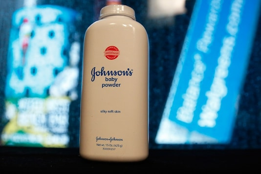 A bottle of Johnson and Johnson Baby Powder is seen in a photo illustration.  (Reuters)