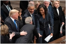 George W Bush Handed Michelle Obama Candy Again, This Time at Bush Senior's Funeral