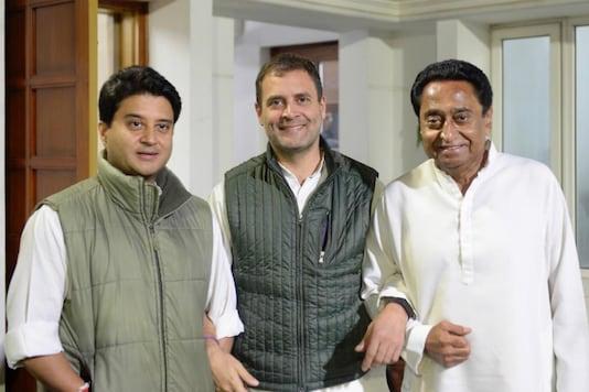 File photo of Congress leader Rahul Gandhi with Jyotiraditya Scindia and Kamal Nath. (Twitter/ANI)