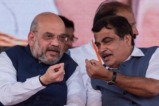File photo of Union minister Nitin Gadkari with BJP chief Amit Shah.