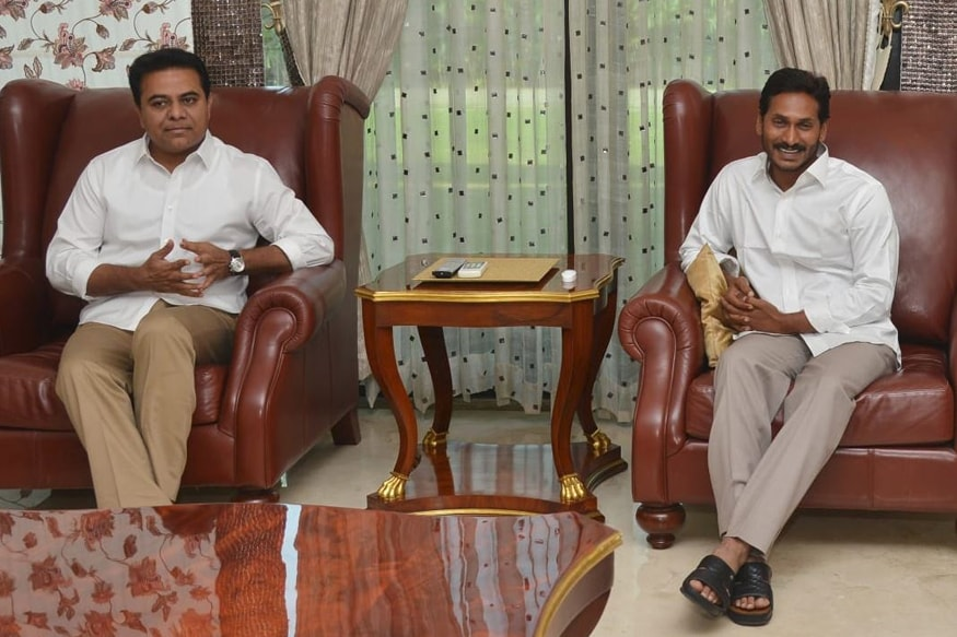 Like-minded Parties Must Unite: KCRs Son Meets Jagan, Pushes for Federal