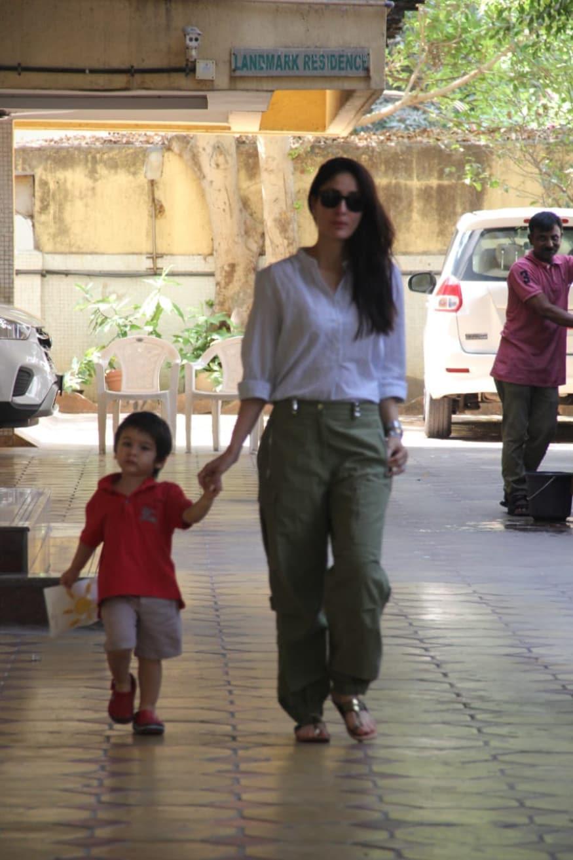 PICS: Taimur Accompanies Mom Kareena Kapoor to Polling Booth