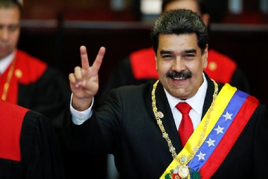 File photo of Venezuelan President Nicolas Maduro gestures after receiving the presidential sash during the ceremonial swearing-in for his second presidential term, at the Supreme Court in Caracas, Venezuela. (Image: Reuters)