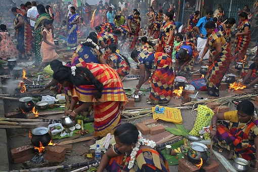 Women prepare dishes to offer to the Hindu sun god during Pongal celebrations early morning in Mumbai. (Image: Reuters)