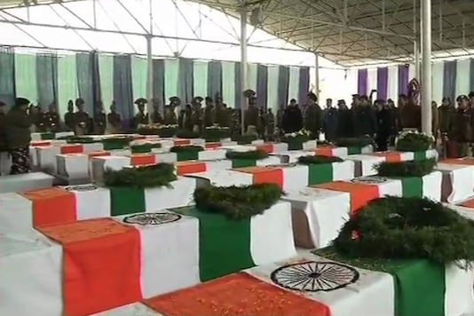 The coffins bearing the bodies of CRPF jawans killed in Pulwama attack.