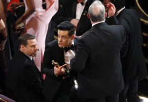 91st Academy Awards - Oscars Show - Hollywood, Los Angeles, California, U.S., February 24, 2019. Best Actor winner Rami Malek reacts after falling down the stairs on the stage. REUTERS/Mike Blake