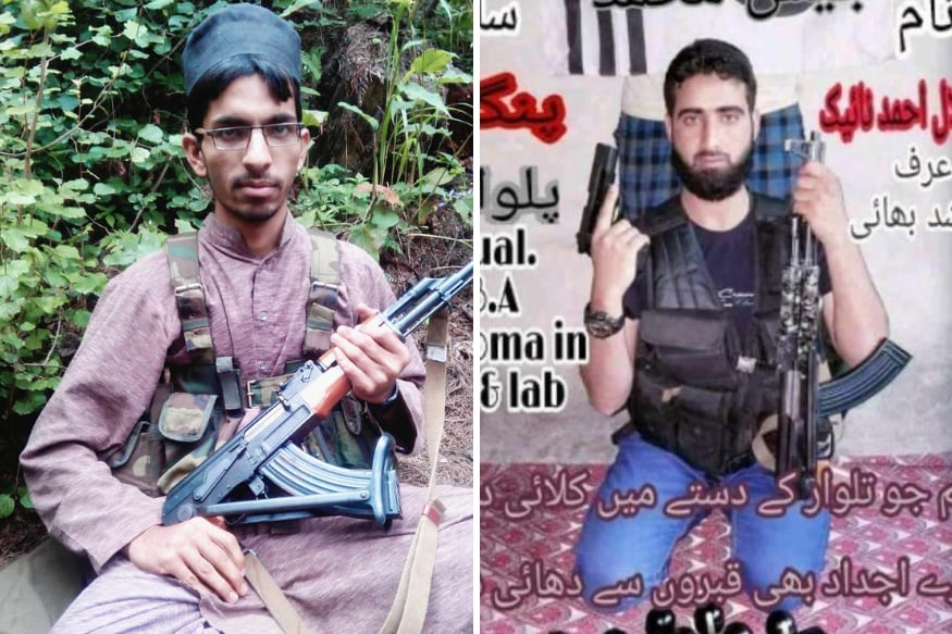 Jaish-e-Mohammad commander Kamran (left) and local militant Hilal.