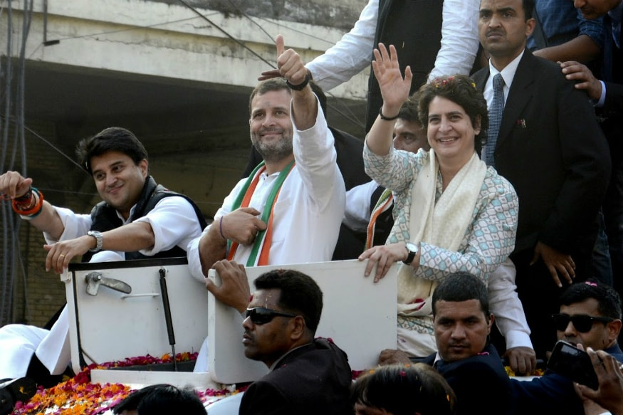 Congress president Rahul Gandhi along with Priyanka Gandhi and Jyotiraditya Scindia in Lucknow. (Image: PTI)