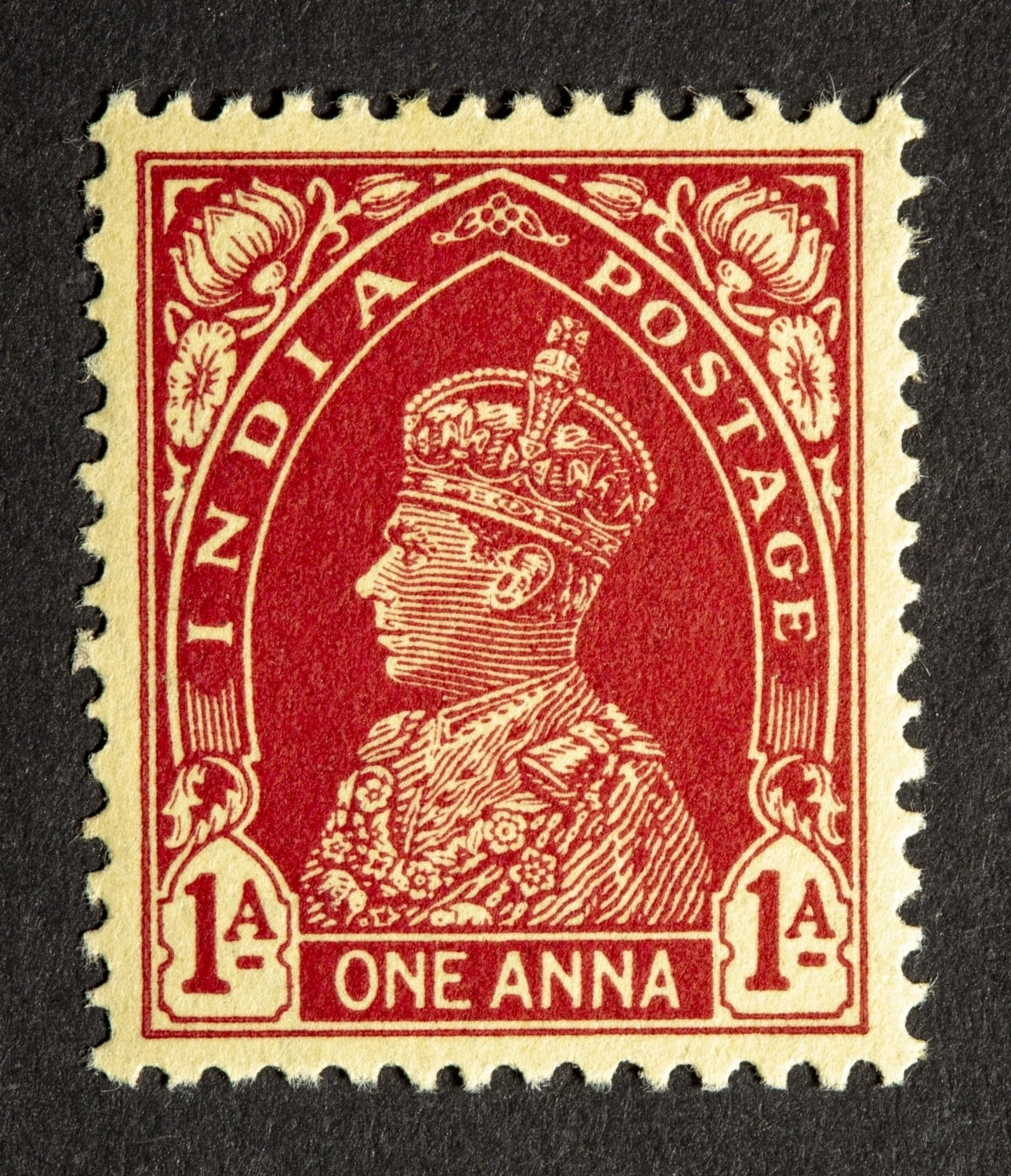 King George VI India Postage stamps issued during the British Rule in India. This unique series features stamps that depict the face of King George VI, the last Emperor of India. This series also features different modes of transportation used in India to deliver mail. Year of Issue: 1937. (Photo Credit: The Ewari Collection)