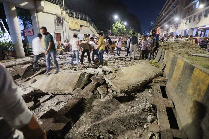 Bridge near bustling Mumbai train station collapses