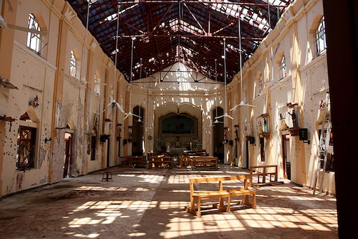 File photo of a destroyed church in Sri Lanka.