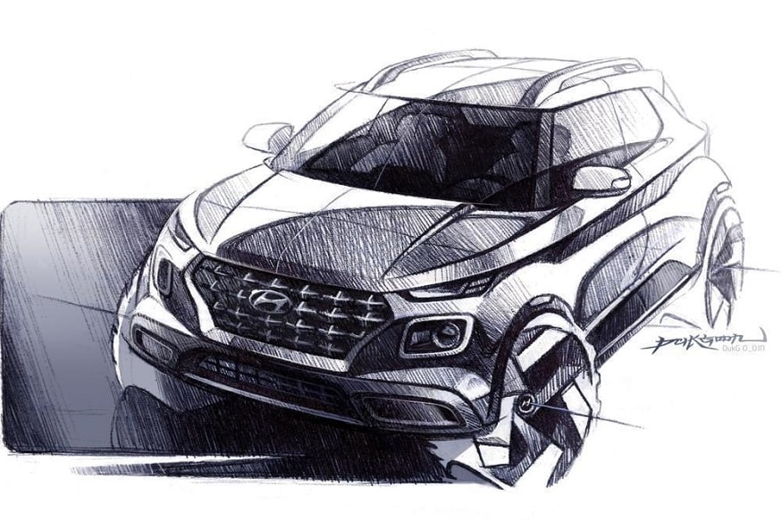 Hyundai Venue sketch. (Image: Hyundai)