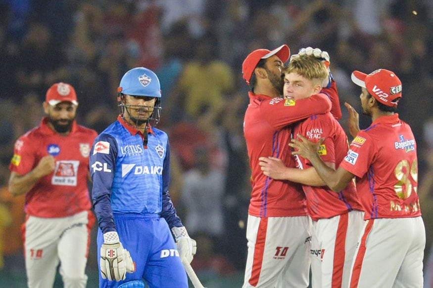 Sam Curran celebrates with his team mates after he took hatrick during the 2019 Indian Premier League (IPL) Twenty20 cricket match between Kings XI Punjab and Delhi Capitals in Mohali. (Image: AFP)