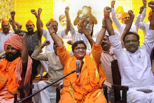 File photo of BJP MP Sadhvi Pragya Singh Thakur  addressing party workers in Bhopal.