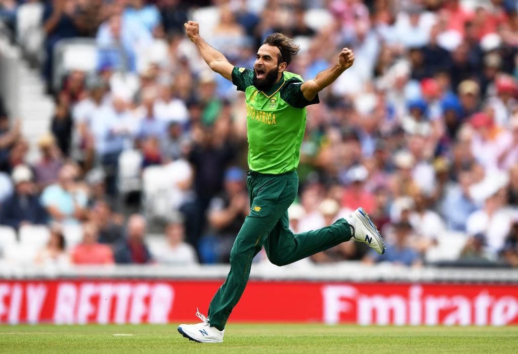Imran Tahir reacts after claiming a wicket. (Twitter/ ICC)