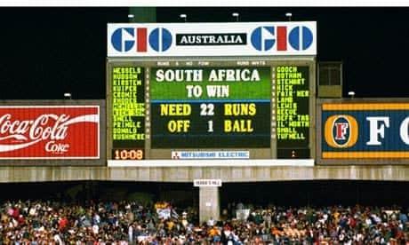 Scoreboard at Sydney Cricket Ground