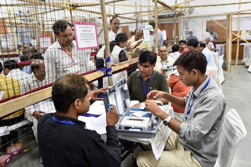 Election officials carry out counting of votes. (Image: PTI)