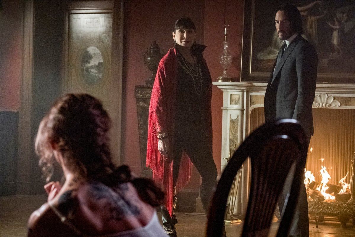 A Still from John Wick 3 featuring Anjelica Houston and Keanu Reeves